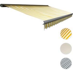 Elektrische Kassetten-Markise T122, Vollkassette Volant 4x3m ~ Polyester Gelb/Weiß, grau