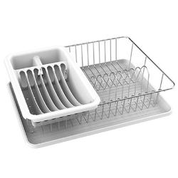 MSV Geschirrständer Geschirrabtropfgestell mit Platte, Abtropfgitter mit großzügigem Besteckkorb für Teller, Gläser & Besteck, verchromt, mit Tropfschale, ca. 43x32x10,5 cm weiß