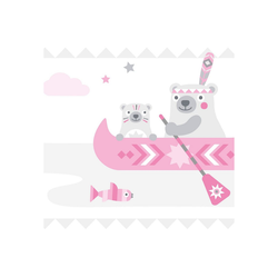 anna wand Bordüre Little Indians rosa/grau, Indianer