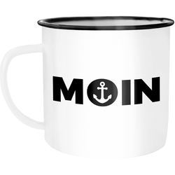 MoonWorks Tasse Emaille Tasse Becher Moin Anker Kaffeetasse Moonworks®, emailliert und mit Aufdruck