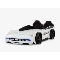 Anka-Plastik Kinderbett Autobett Kinderbett Sport 3.0 Weiß mit Spoiler, Autobett für Jungs