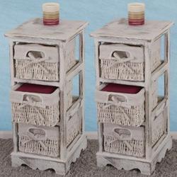 2xRegal Kommode mit 3 Korbschubladen 58x25x28cm, Shabby-Look, Shabby-Chic, Vintage ~ weiß