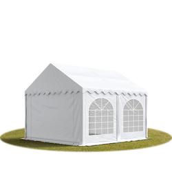 Toolport Partyzelt 4x4m PVC 500 g/m² weiß wasserdicht Gartenzelt, Festzelt, Pavillon