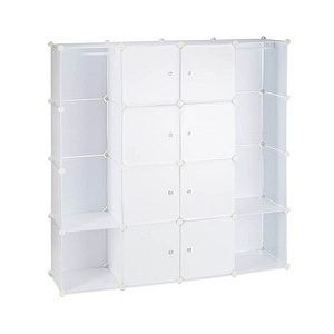relaxdays Kleiderschrank transparent / weiß 12 Fachböden