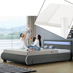 ArtLife Polsterbett Bilbao 140 x 200 cm dunkelgrau mit Kaltschaummatratze Matratze Bett Einzelbett