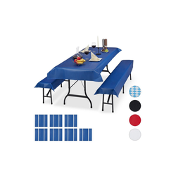 relaxdays Bierzeltgarnitur 24x Bierzeltgarnitur Auflage blau
