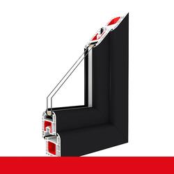 Kunststofffenster Dreh (ohne Kipp) Fenster Anthrazit Glatt, Anschlag: DIN Links, Glas: 3-Fach, BxH: 700x1200 (70x120 cm)