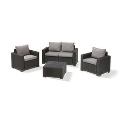 Allibert Loungeset Allibert California Loungeset, (Set, 4-tlg., 2-Sitzer: 141 x 68 x 72 cm; Sessel: 83 x 68 x 72 cm; Tisch: 68 x 68 x 35 cm), 2x Sessel, 1x Sofa, 1x Tisch grau
