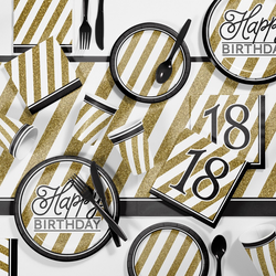 Black and Gold 18th Birthday Party Supplies Kit Black/Gold