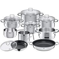Silit Toskana Topf-Set 8-tlg. Bratentopf + Fleischtopf (3x) + Stielkasserolle + Milchtopf + Bratpfanne + Servierpfanne + Glasdeckel