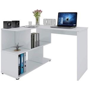 Woltu Schreibtisch TS64ws, Eckschreibtisch mit Ablagen in Weiß