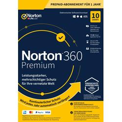 Symantec Norton 360 Premium, kopia zapasowa w chmurze 75 GB, 1 użytkownik 10 urządzeń, roczna licencja 12 MO, pobieranie