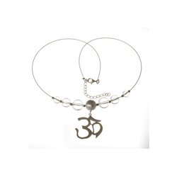 Bella Carina Collier Kette mit Bergkristall und Om Zeichen, 925 Silber