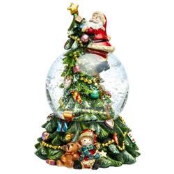 SIKORA Schneekugel SK17 Weihnachtsmann auf dem Weihnachtsbaum mit Spieldose D:10cm
