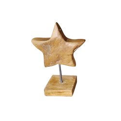 Teakholz-Stern auf Fuß, 41 x 20 x 25 cm, braun