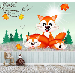 Bilderdepot24 Fototapete, Fuchsfamilie Cartoon, selbstklebendes Vinyl bunt 2.25 m x 1.5 m