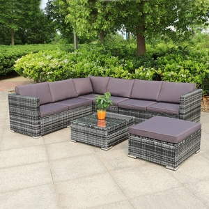 Polyrattan Rattan Lounge Set Sitzgruppe Garnitur Sofa Sessel Hocker Tisch m Glas