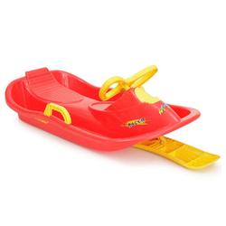 Moni Lenkschlitten Kinderschlitten Racer HX004, Kinderbob mit Zugseil, Handbremse und Lenkrad