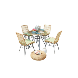 HTI-Line Sitzgruppe Terrassenmöbel Bologna, (4x Sessel, 1x Tisch, 5-tlg), Terrassenmöbel