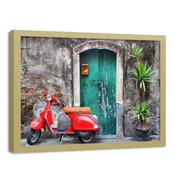 HomeLiving Bild mit Rahmen Türen und roter Roller, Motiv siehe Bild/Beschreibung