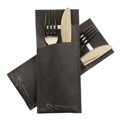 Pochetto Bestecktaschen 200x85mm marmor. schwarz inkl. Serviette weiß, 520 Stk.
