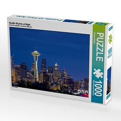 Seattle Skyline at Night Lege-Größe 64 x 48 cm Foto-Puzzle Bild von TomKli Puzzle