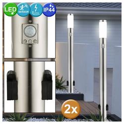 etc-shop LED Steckdosenleuchte, 2er Set Edelstahl Steh Leuchten Bewegungsmelder Lampen Außen Steckdosen Garten Beleuchtung