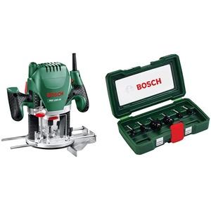 Bosch Oberfräse POF 1200 AE (1.200 W, im Karton) + Bosch DIY 6tlg. Fräser-Set HM (Ø 8 mm)
