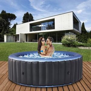 Miweba MSpa aufblasbarer Whirlpool 2021 Comfort Bergen C-BE041 - für 4 Personen - 118 Luftdüsen - 180.0 x 180.0 x 70.0 cm - Pool aufblasbar (Anthrazit/Blau)