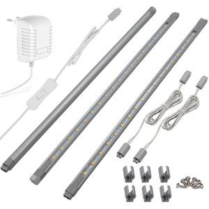 LED Unterbauleuchte Kit, 3 er-Set Schrankleuchten, Gesamt von 860 lm, Alle Zubehör im Lieferumfang, Puck Lichter für Schrank/Küche-Kabinett Vitrinenbeleuchtung, LED Lichtleiste (Weiß)