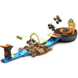 Hot Wheels Spiel-Gebäude Monster Trucks Stunt-Reifen, inklusive Tiger Shark Monster Truck und Hot Wheels Fahrzeug
