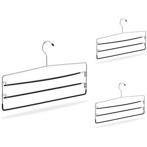 Relaxdays Hosenbügel 3er Set, rutschfest, platzsparende Mehrfachbügel für Hosen & Röcke, Metall, 40 cm breit, Silber, Pack