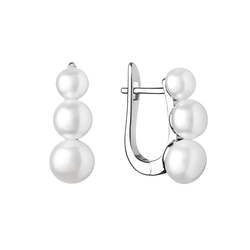Silberne Hängeohrringe mit drei weißen Perlen Arielle