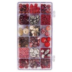 Rayher Perlen-Set Glasperlenbox rubin