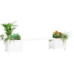 Melko Gartenbank Weiß Holzbank 180 cm Parkbank Holz Sitzbank mit Stauraum Bank mit Pflanzkübeln