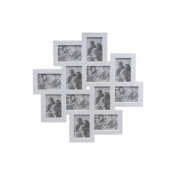 elbmöbel Collagerahmen Bilderrahmen weiß Collage, für 12 Bilder, Wandbilderrahmen: 12er Fotocollage 62x62x2 cm weiß
