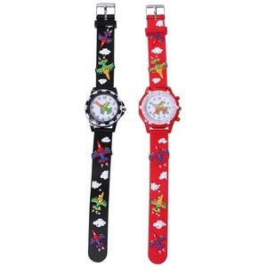 ibasenice Kinderuhren -2 STÜCKE 3D Dreidimensionale Uhren Kreative 3D Armbanduhr Cartoon Gedruckt Armbanduhr Schöne Armbanduhr für Kinder Kind Kinder Mädchen Tragen Flugzeug Stil Zufällige Farbe