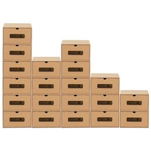 BigDean Schuhbox 20 Stück Aufbewahrungsbox mit Sichtfenster Stapelbar Schuhaufbewahrung Storage Box Schuhbox Schuhkarton Schuhschachtel Allzweckbox Schublade Pappe aus Kraftpapier (20 Stück) braun