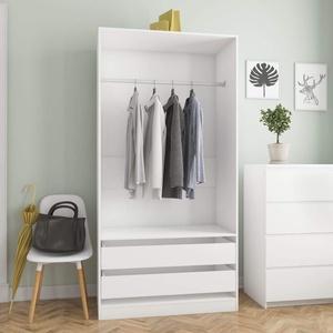 Tidyard Garderoben Flurgarderobe Kompaktgarderobe Garderobenständer Kleiderständer Kleiderschrank Dielenschrank Wandschrank, für Flur Schlafzimmer, Weiß 100×50×200 cm