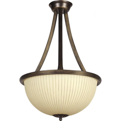 Licht-Erlebnisse Deckenleuchte BARON Runde Deckenleuchte Metall Glas Braun Gold Wohnzimmer Esstisch Lampe