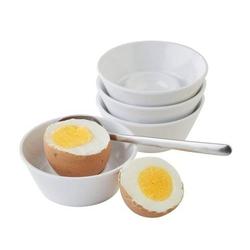 Eierbecher, 4er Set, jeweils Ø 8 cm, H: 3 cm, Melamin, weiß.