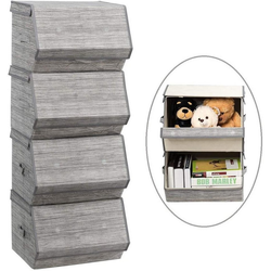COSTWAY Faltbox Aufbewahrungswürfel Aufbewahrungskiste (4 Stück), 4er Set, stapelbar