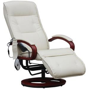 Relaxliege ARLES II Relaxsessel MIT Massage, Massagesessel ~ Leder, creme