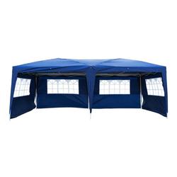 FCH Faltpavillon, Faltpavillon Wasserdicht Pavillon Gartenzelt 3 x 6 m mit 6 Seitenteilen Blau