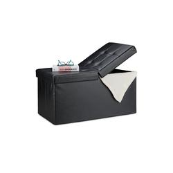 relaxdays Sitzbank Kunstleder Sitzbank klappbarer Deckel schwarz