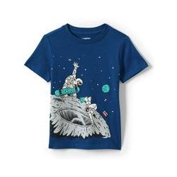 Grafik-Shirt, Größe: 98/104, Sonstige, Jersey, by Lands' End, Skateboard Astronauten - 98/104 - Skateboard Astronauten