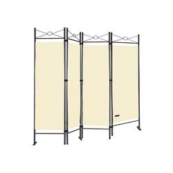 Casaria Paravent Lucca, Raumteiler 180 x 163 cm Verstellbar 4 tlg Trennwand Spanische Wand Raumtrenner Sichtschutz - Creme natur