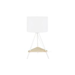 Designer-Tischlampe Metall weiß aus Holz YIN