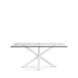 Glastisch in Weiß Stahl