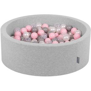 KiddyMoon Bällebad 90X30cm/200 Bälle ∅ 7Cm Bällepool Mit Bunten Bällen Für Babys Kinder Rund, Hellgrau:Perle-Grau-Transparent-Rosa
